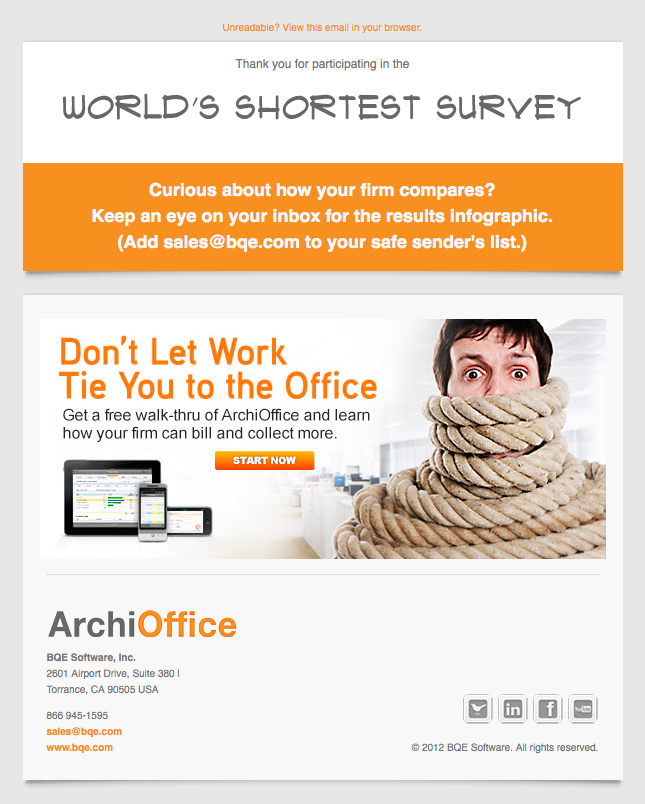 ArchiOffice World's Shortest Survey free walk thru email image