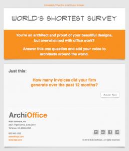 ArchiOffice World's Shortest Survey email image