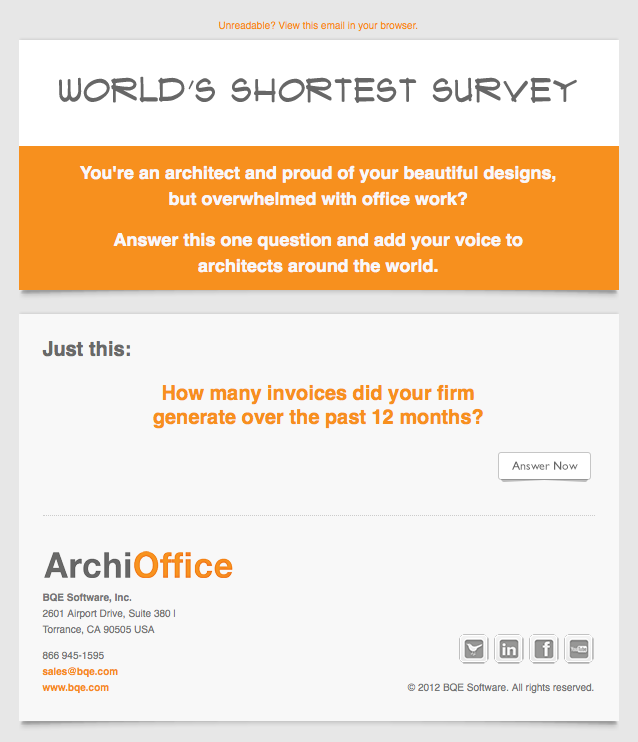 ArchiOffice World's Shortest Survey email image