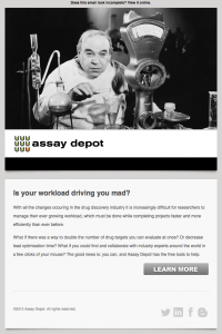 Assay Depot A/B test email 1 image