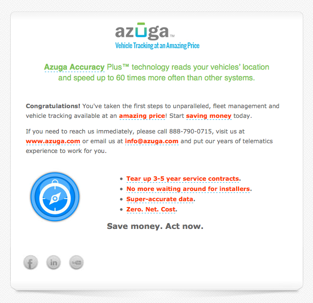 Azuga video confirmation email image