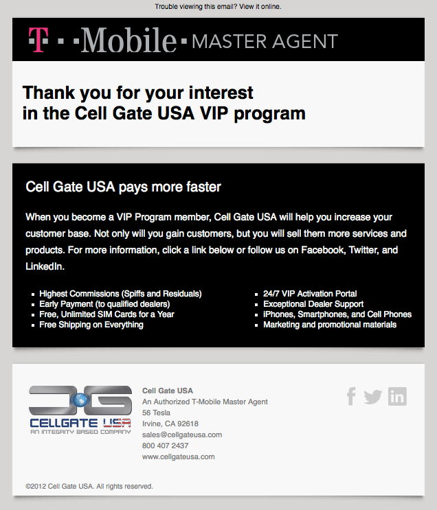 CellGate USA confirmation email image