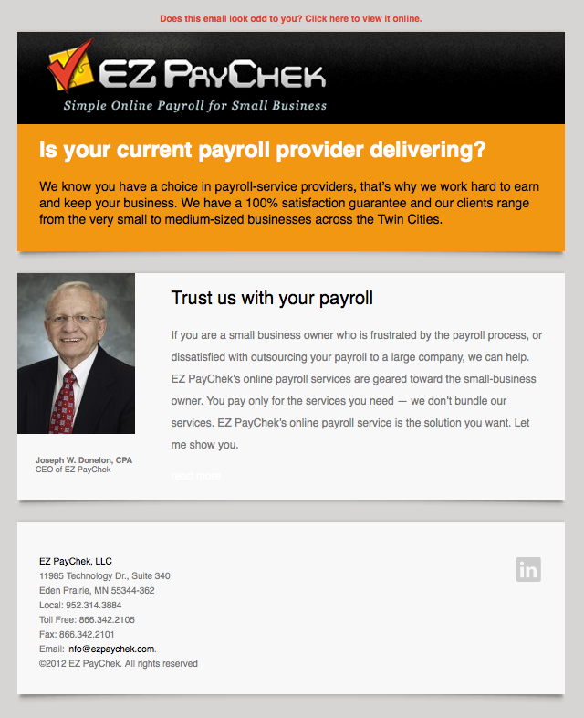 EZ PayChek email image