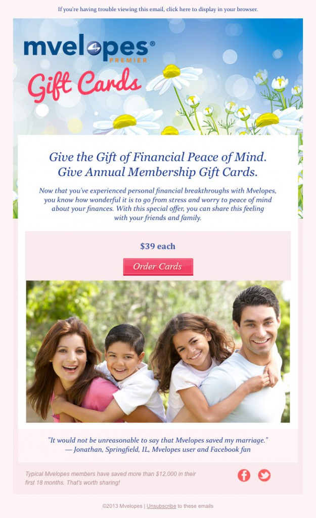 Mvelopes Gift Cards email image