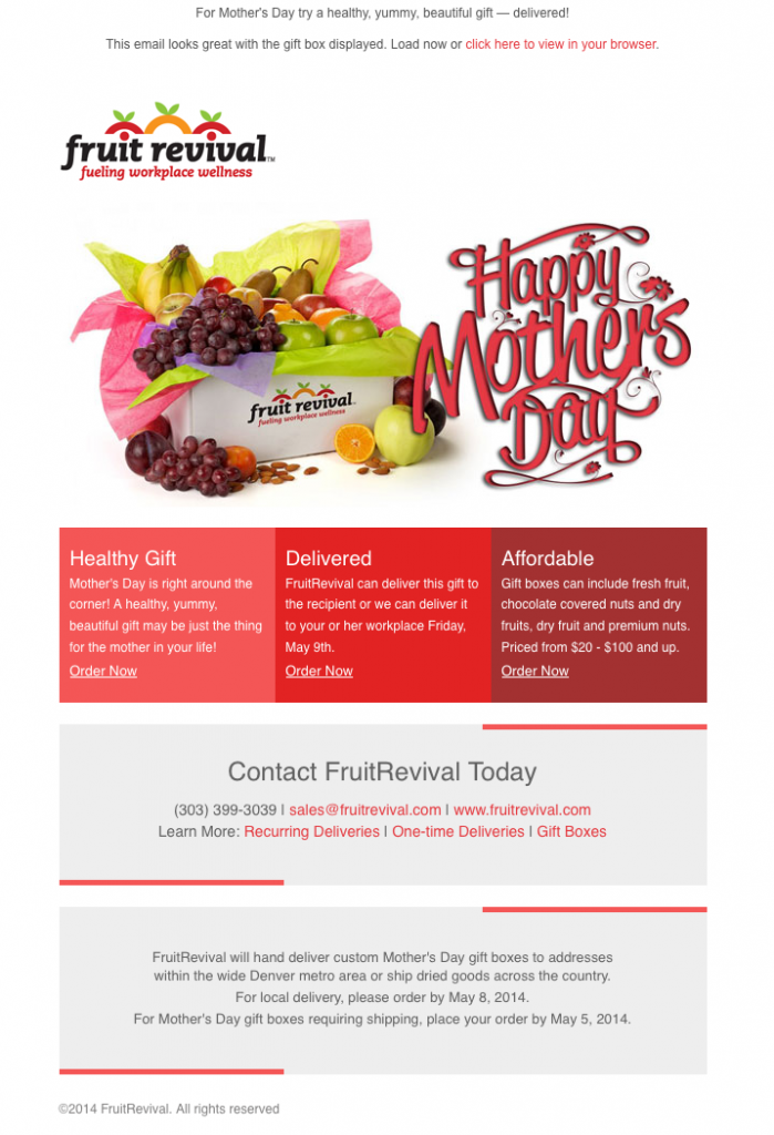 FruitRevival Mother's Day email image