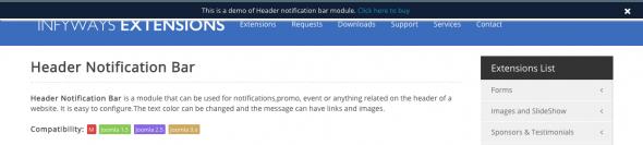 Infyways.com, header notification pop-up