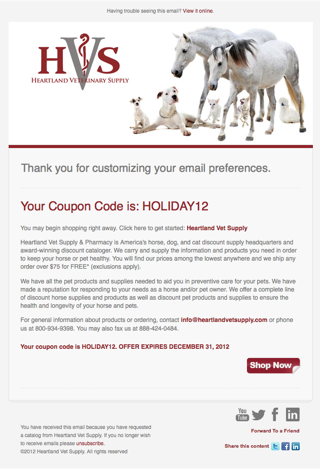 Heartland Vet Supply confirmation email image