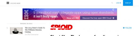 Sploid.com dynamic menu subscribe notice.