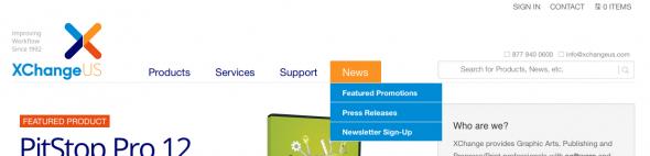 XChangeUS.com sub-menu subscribe link.