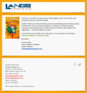 Lange Graphics' Trapped in Creative Hell confirmation email image