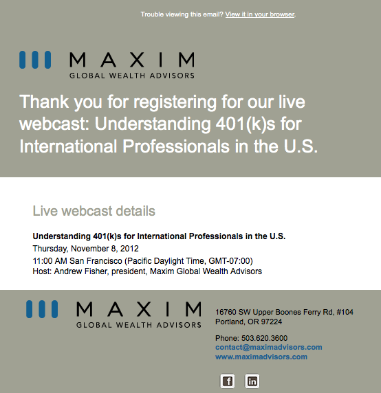 Maxim Advisors registration confirmation email image