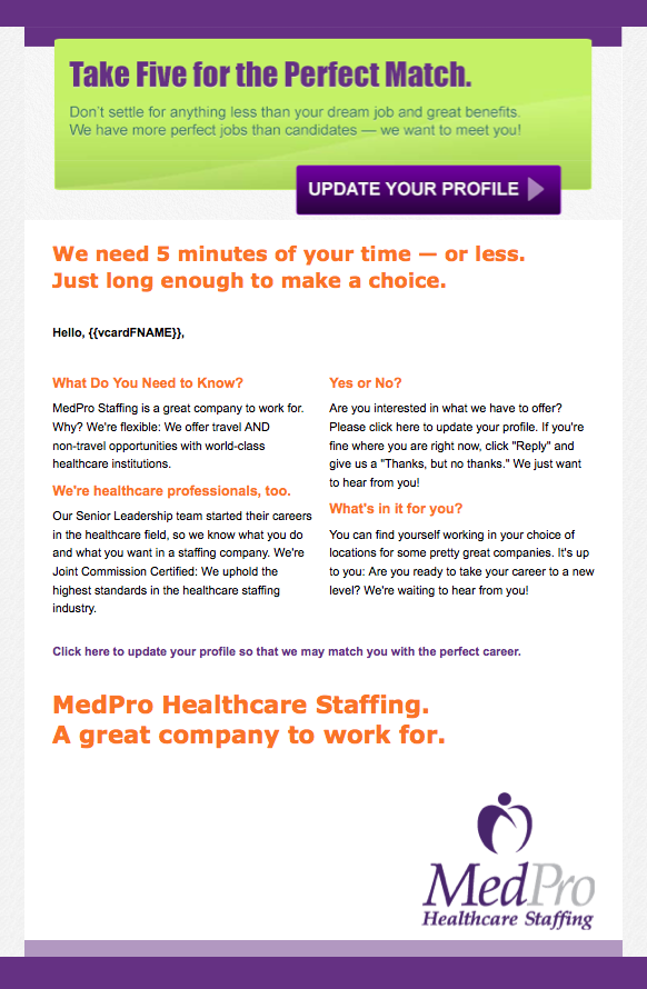 MedPro Healthcare Staffing Take 5 email image