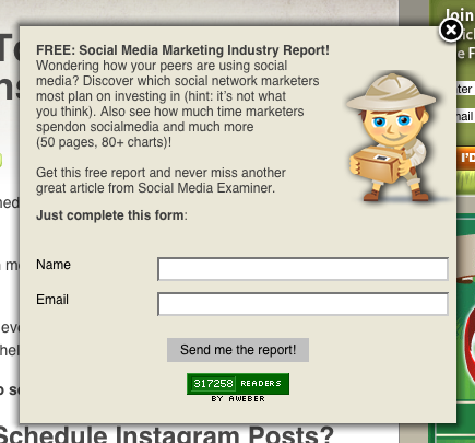 SocialMediaExaminer.com, on-enter, subscriber pop-up