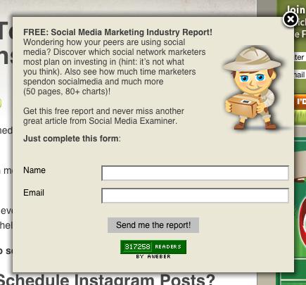 SocialMediaExaminer.com, on-enter, subscriber pop-up