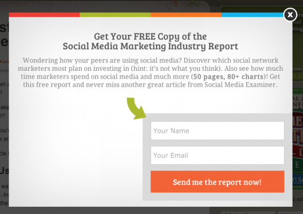 SocialMediaExaminer.com on-exit triggered pop-up.
