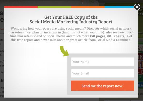 SocialMediaExaminer.com on-exit triggered pop-up.