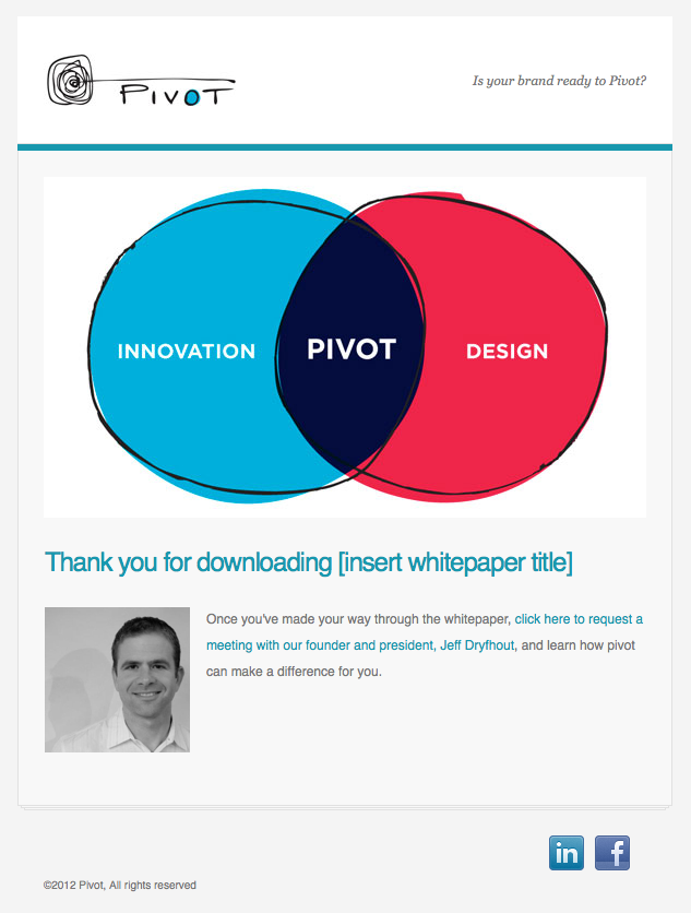 Pivot confirmation email image