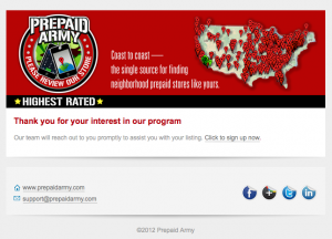 Prepaid Army confirmation email image