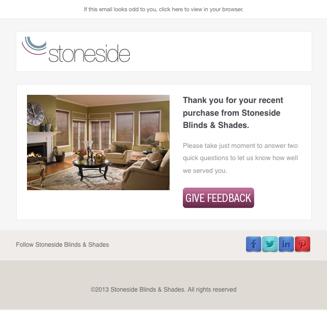 Stoneside Blinds & Shades give us your feedback confirmation email image