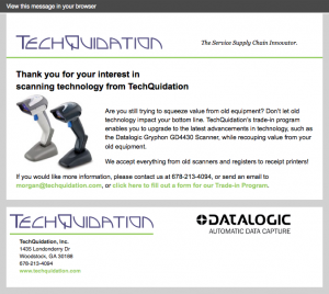 Techquidation confirmation email image