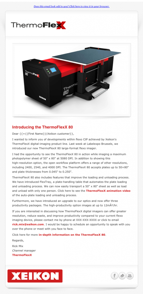 ThermoFlexX 80 announcement email image