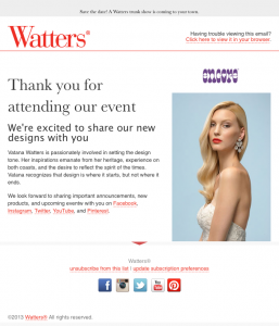 Watters confirmation email image